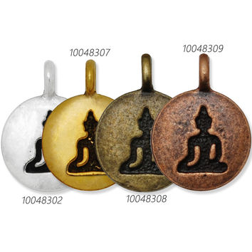 Hot Sale Round Metal Buddha Symbol Charms for Bracelet Necklace,12 mm Infinity Symbol Pendant Tag DIY Jewelry,4 colors for chose