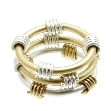 Sliver Two Tone Metal Knuckle Ring