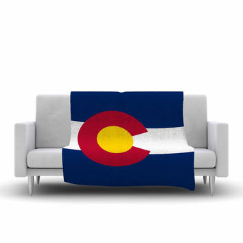 "Bruce Stanfield ""Colorado State Flag"" Blue Red Fleece Throw Blanket"