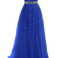 Exquisite Sweetheart Tulle Long Prom Dresses 2015 Party Gowns