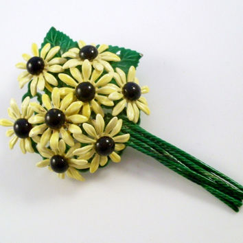 Vintage Brooch Yellow Daisy Flower Bouquet