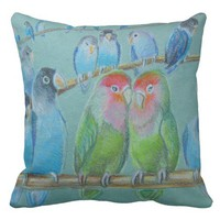 Lovebirds oil pastel throw pillow
