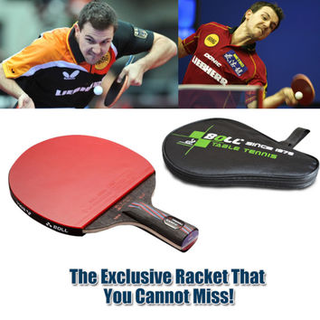 1x Brand quality Carbon Fiber Table tennis racket Blade with double face Pimples-in Racket rubber bat Timo Boll NANO-V with bag