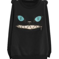 LookbookStore Women Zip Mouth Smile Shoulder 3D Ear Cat Jumper Sheatshirt Top