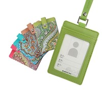 Bohemian Style Credit Card Holder for  Students PU Bank Card Neck Strap Card Bus ID Holders Work Identity Badge with Lanyard