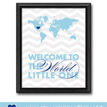 blue baby nursery decor travel baby boy nursery welcome to the world little one nursery quote baby boys gift world map typography boys room