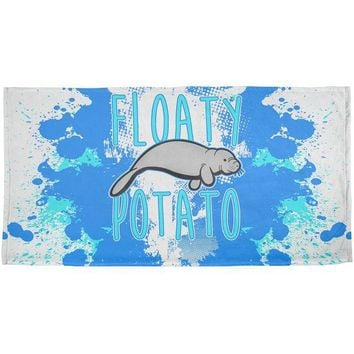 DCCKJY1 Floaty Potato Manatee Funny Grunge Splatter All Over Beach Towel
