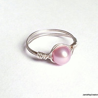 Pink Freshwater Pearl Silver Wire Wrapped Ring - Elegant Blush Pink Pearl Wrapped Ring - Bridal Gift, Bridesmaid Wrap Ring Wedding Jewelry