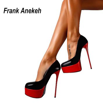Frank Anekeh Spring & Autumn Woman Sexy Pumps Extreme High Heels Designer Shoes Platform Pumps Stiletto Female Valentine Shoes