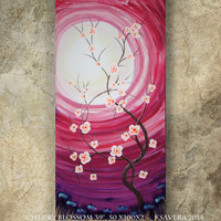 weddings gift painting ROSE SAKURA art sunrise contemporary artwork cherry blossom tree in poppies field acrylic on canvas by Ksavera