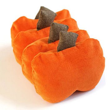 Pumpkin Shaped Bean Bags with Brown Stems (Set of 4) Autumn 3.5 inch Pumpkin Kids Toss Toy Bright Orange Corduroy - US Shipping Included