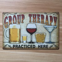 GROUP THERAPY PRACTICED HERE Metal Signs Vintage Home Decor 20x30cm Iron Painting Bar Pub Wall Art Decorative Metal Plates