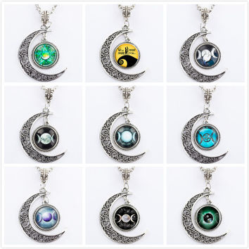Triple Moon Goddess Pendant Wiccan Jewelry Moon Goddess Necklace Witch Necklaces Glass Dome Choker Necklace Moon Jewellery