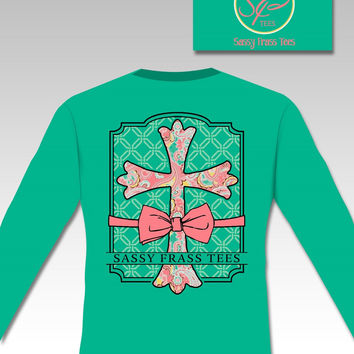 Sassy Frass Preppy Raegan Cross Bow  Christian Comfort Colors Long Sleeve Bright Girlie T Shirt