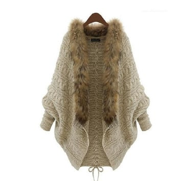 Winter Open Cardigan Poncho Capes Pull Autumn Outwear Tricot Women Knitted Sweater Batwing Sleeve Shrug Jacket (Size: One Size, Color: Khaki) = 1945996740