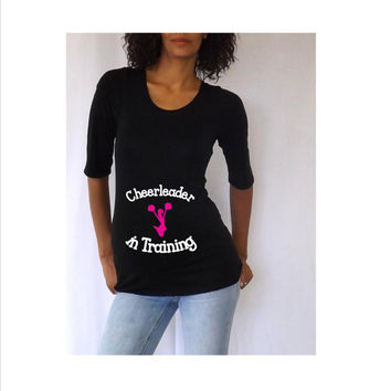 """Fun, Cute  Maternity shirt """" Cheerleader in training""""   3/4 sleeves Choose your Size M,L,XL"""