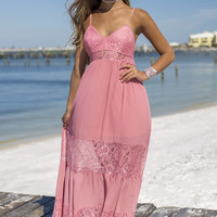 Off The Record Mauve Lace Tier Maxi Dress