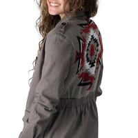 Vintage Havana Women's Charcoal Grey with Tribal Sweater Knit Back Long Sleeve Military Jacket