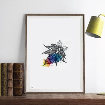 INSTANT DOWNLOAD, Abstract ethnic art, ink, Watercolour, Paint mix media, minimal modern, abstract digital poster print.