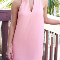 Pink Cut Out Halter Chiffon Mini Dress