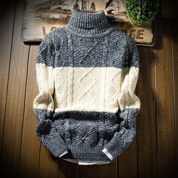 BKTrend Mens Sweaters Winter Fashion Thick Sweater Turtleneck High Quality Slim Fit Knitting Men's Pullover Sweaters MY6905