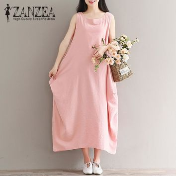 ZANZEA Crew Neck Sleeveless Mid-Calf Dress Pockets Loose Solid Kaftan Lady Autumn School Pink Oversized Cotton Linen Midi Dress