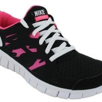 Nike Kids's NIKE FREE RUN 2.0 (GS) RUNNING SHOES 4 (BLACK/WHITE/PINK FLASH)