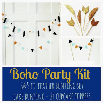 Boho Party Kit. Navy Mint and Mustard Feather Bunting - Chevron Cupcake Toppers - Felt Cake Bunting Tiny Bunting -  Gold Feather Cupcake