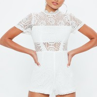 Missguided - Ivory Lace Short Sleeve Romper