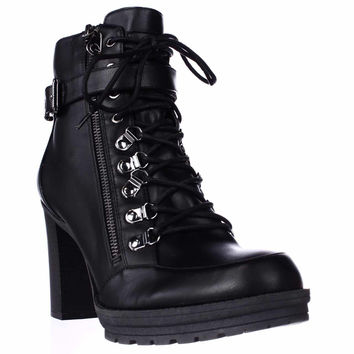 G by GUESS Grazzy Lace Up Lug Sole Ankle Boots - Black