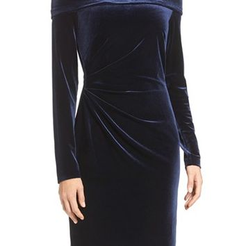Eliza J Ruched Velvet Sheath Dress | Nordstrom