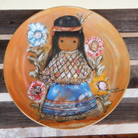 Mother's Day Gift  - DeGrazia Little Cocopah Indian Girl Child. Series Plate Artists of the World ~ Native American Collectible Art