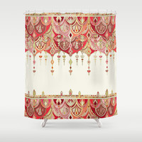 Royal Red Art Deco Double Drop Shower Curtain by Micklyn