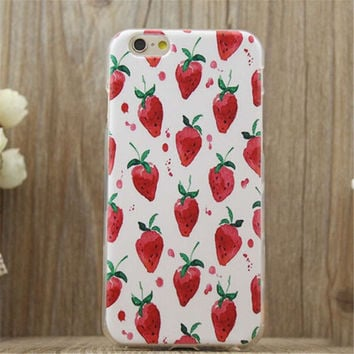 Strawberry Print Summer iPhone 5/5S/6/6S/6 Plus/6S Plus Case Gift Very Light Case-22