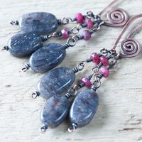Ruby and Gray Aventurine Dangle Earrings