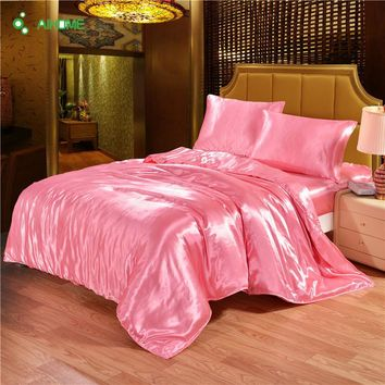 3pcs Smooth Silk Bed Sheet Pillow Cover Printing Pink Bedding Linens Bed Sheets With Elastic Band Twin Queen King Size