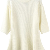 White Ruched Knitted Top
