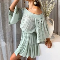 Elastic off shoulder women dress Embroidery cotton pleated short dress Mint green flare sleeve ladies dresses