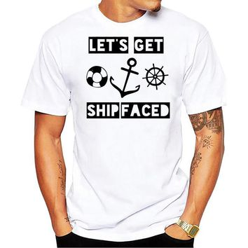 Ship Lifebelt Anchor Stirring Wheel - Let's Get Ship Faced T-Shirt