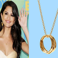 Selena Gomez, Triple, Goldfilled, Ring, Necklace, Triple, Ring, Jewelry, Triple, Circle, Celebrity, Inspired, Necklace