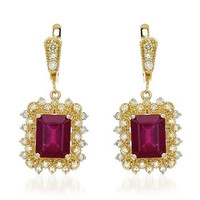 Earrings with 15.1ct TW Diamonds and Composite Rubies in 14K Yellow Gold