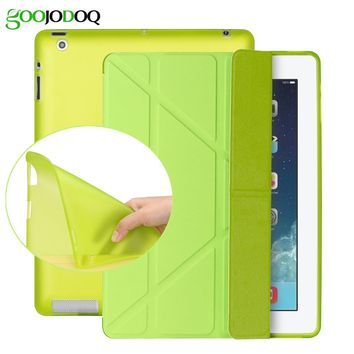 Case for iPad 2 3 4 / Mini 4 3 2 1 Case with Silicone Soft Back, Multi-fold PU Leather Smart Cover for Apple iPad Mini 4
