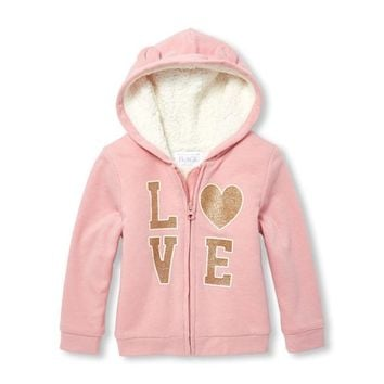 Baby And Toddler Girls Active Long Sleeve Glitter Graphic Full-Zip Faux Sherpa Hoodie