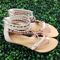 Woodstock Beige Braided Ankle Sandals