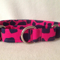 "Pink & Navy Giraffe Martingale or Quick Release Collar 3/4"" 1"" Martingale Collar, 1.5"" Martingale Collar"