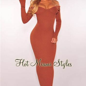 Caramel Ribbed Knit Long Sleeves Dress