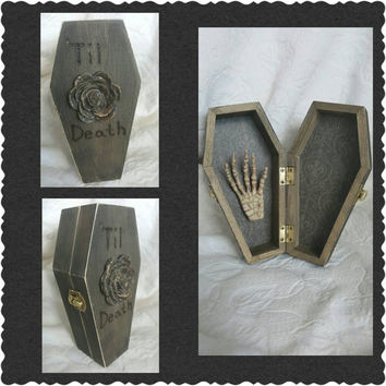 READY to SHIP Halloween Gothic Aged Distressed Coffin Wedding Ring Box Ring Bearers Pillow with Skeleton Hand Til Death Rose