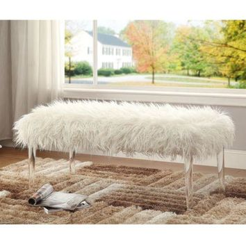 Modern Bench White Elegant Living Seat Room Faux Shag Entryway Chic Furniture