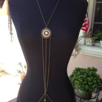 Crystal Sphere Bronze Body Chain Harness