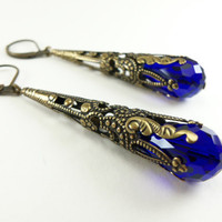 Royal Blue Earrings Antiqued Brass Dangle Victorian Style Jewelry